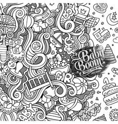 Cartoon doodles baby boom frame vector