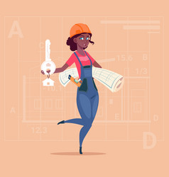 cartoon female builder african american holding vector image vector image