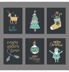 Christmas greeting or invitation cards set vector