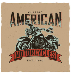 classic american motorcycles poster vector image vector image