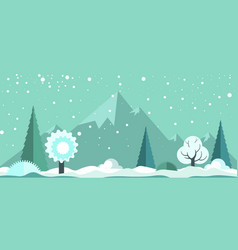 Cold winter panoramic spectacular landscape with vector