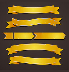 collection set of variation gold elegant ribbons vector image vector image