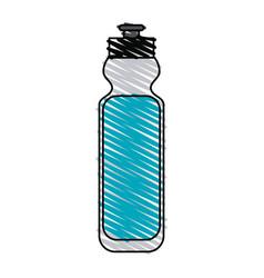 Color crayon stripe cartoon sports bottle for vector