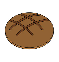 Color image circular bread food bakery vector
