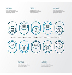 Computer outline icons set collection of storage vector