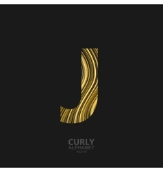 Curly textured Letter J vector image
