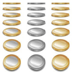 gold and sliver coins vector image vector image