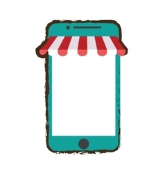 Green smartphone shopping online store sketch vector