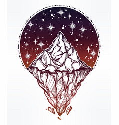 Hand drawn beautiful iceberg and sky vector