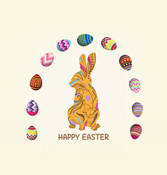 Happy easter with doodle floral bunny picture vector