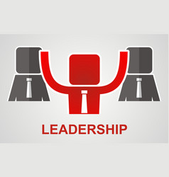 Leadership concept - leader raises his hands up vector