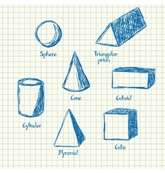 Math shapes doodle vector image