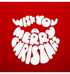 Merry Christmas Chalk lettering with Santa Claus vector image vector image