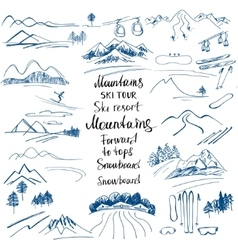 Mountain landscape hand-drawn sketches of the vector