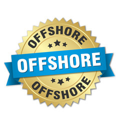 Offshore round isolated gold badge vector