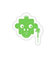 Paper sticker on white background monkey sparkler vector