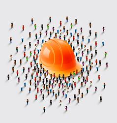 people stand around a helmet vector image