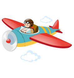 pilot flying airplane in the sky vector image vector image