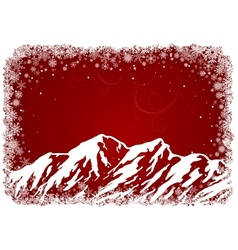 Red Christmas background with mountains vector image vector image
