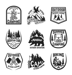 set of camping hiking mountains outdoor emblems vector image