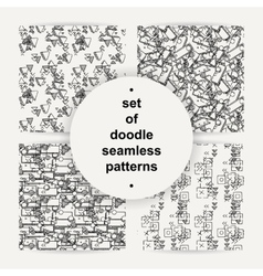 Set of hand drawn doodle seamless patterns vector image vector image