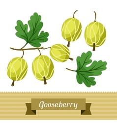 Set of various stylized gooseberries vector