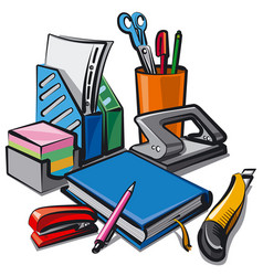set stationery for studying vector image vector image