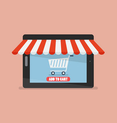 shopping online by tablet vector image