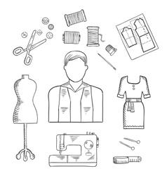 Tailor or fashion designer profession sketch icon vector image