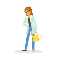 Teacher of botany standing with a watering can vector