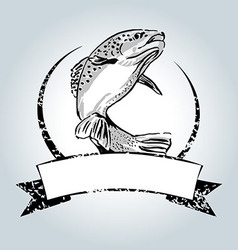 Vintage label with trout vector image