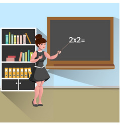 young female teacher in classroom vector image vector image