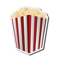 Striped popcorn bag icon vector
