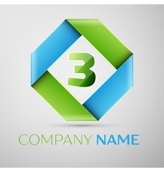 Number three logo symbol in the colorful rhombus vector