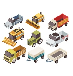 Farm Vehicles Isometric Set vector image