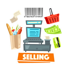 Shopping retail selling shop items icons vector
