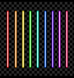 Neon tube light pack isolated on transparent vector