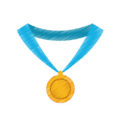 gold medal with blue ribbon icon image vector image