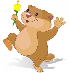 Groundhog dancing with first flower vector