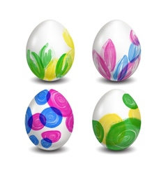 Set of isolated easter eggs watercolor paints vector