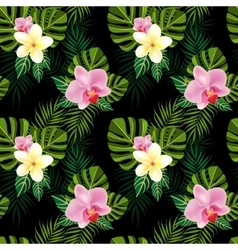 Tropical flowers pattern vector