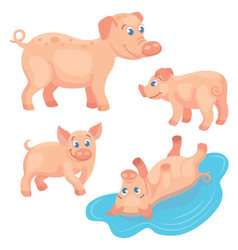 Adult pig with tree piglets on the white backgroun vector