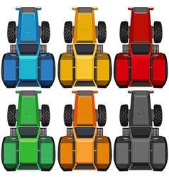 Top view of tractors in different colors vector