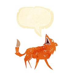 Cartoon snapping fox with speech bubble vector