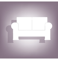 Sofa icon with shadow vector