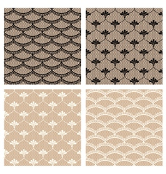 Set of four seamless lace patterns vector