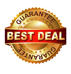 Best deal golden label with ribbon vector
