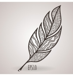 Ornate intricate feather doodle zentangle vector