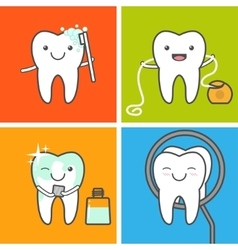Teeth care and hygiene icons vector