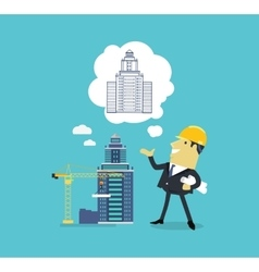 Character of architect with a new project vector